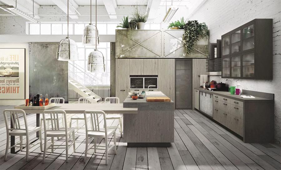деревянная мебель в стиле лофт кухня