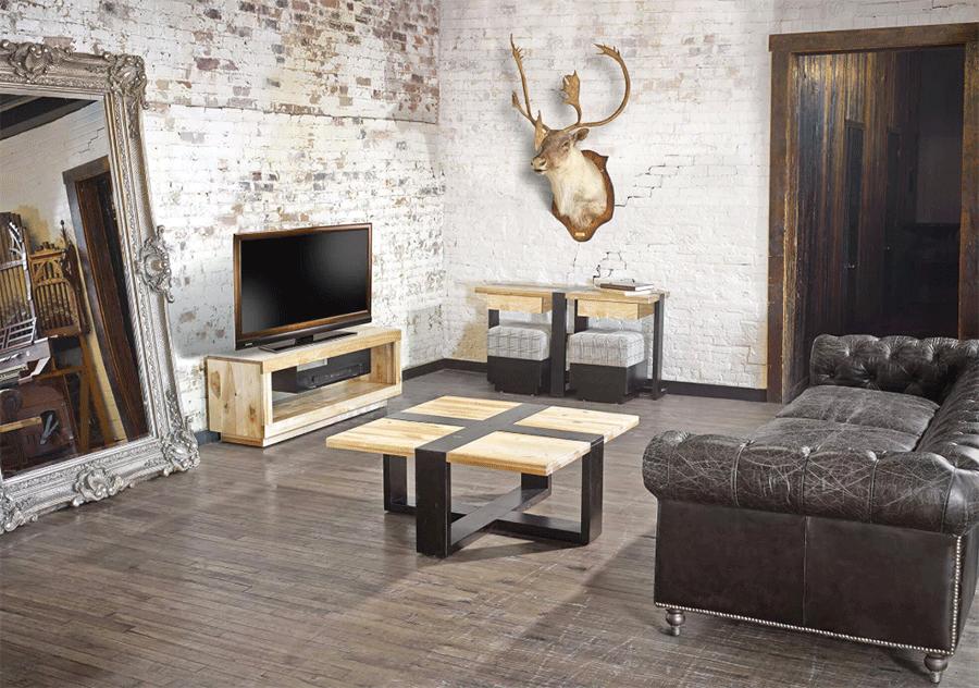 деревянная мебель в стиле лофт обладает