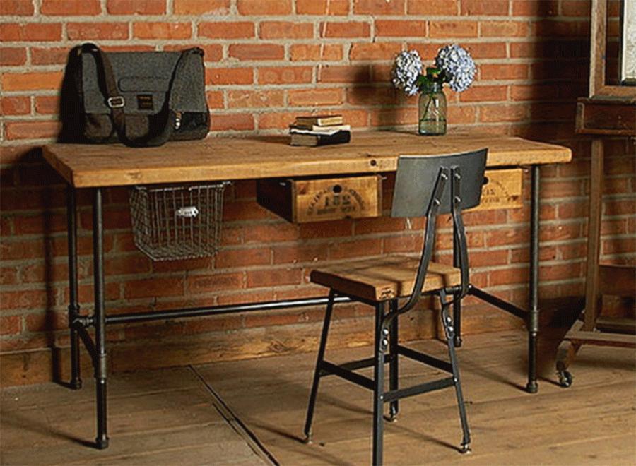 хорошо подходит деревянная мебель лофт
