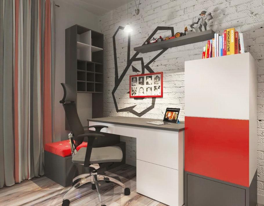 Рабочий стол в стиле лофт для подростка